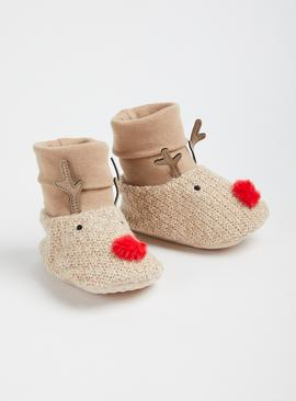 Christmas Reindeer Brown Sock-Top Booties