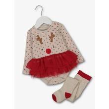 Christmas Reindeer Red & Cream Bodysuit & Tights
