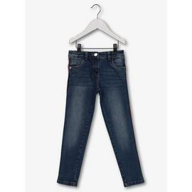 Blue Skinny Jeans With Side Tape & Stretch