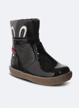 ToeZone Black Patent First Walker Bunny Boots