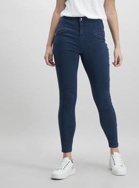 Online Only Blue Zip Detail Skinny Jeans