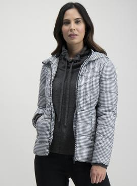 Monochrome Houndstooth Print Padded Jacket