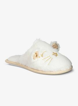 White Fluffy Cat Mule Slippers