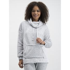 Grey Star Print Cowl Neck Fleece Top