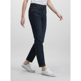 Dark Denim Girlfriend Jeans With Stretch