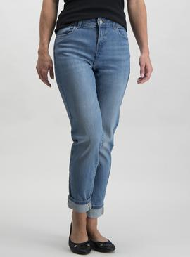 Mid Denim Girlfriend Jeans With Stretch