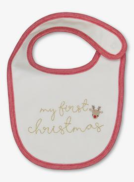 Christmas Cream 'My First Christmas' Bib - One Size