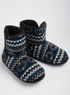 Multicoloured Fair Isle Slipper Boots