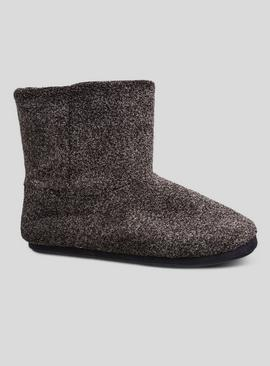Black Velour Speckled Slipper Boots