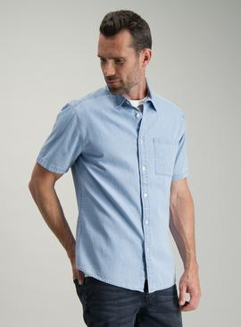 Blue Chambray Regular Fit Denim Shirt