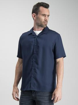 Navy Tencel Regular Fit Shirt