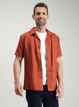 Burnt Orange Tencel Regular Fit Shirt