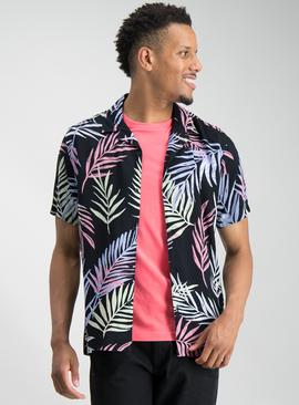 Black Neon Leaf Print Revere Collar Shirt