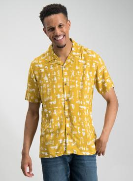 Ochre Brush Print Short Sleeve Revere Collar Shirt