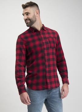 Red & Black Spliced Check Regular Fit Shirt