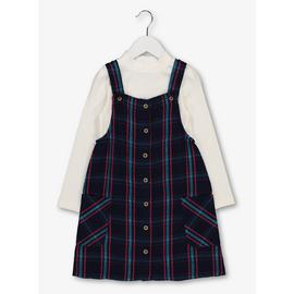 Multicoloured Check Pinafore & Top Set