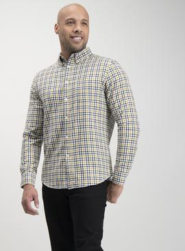 Ochre Yellow & Navy Gingham Regular Fit Shirt