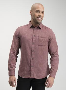 Dark Red Herringbone Regular Fit Shirt