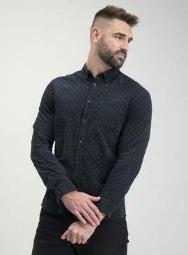 Charcoal Grey Circular Print Regular Fit Corduroy Shirt