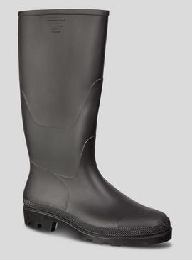 Black Plain Wellies