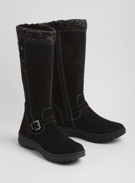 Black Knitted Cuff Long Leg Boots