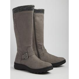 Sole Comfort Grey Knitted Calf Long Leg Boots