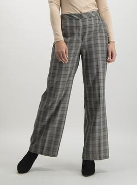 Grey Multi-Check Wide Leg Pull-On Trousers