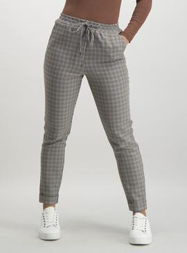 Grey Multi-Check Pull-On Smart Joggers