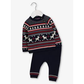 Christmas Navy Fair Isle Knitted Set