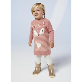Pink Fox Knitted Dress & Tights Set