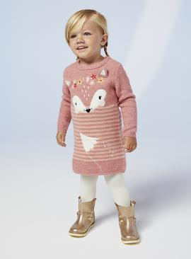 Pink Fox Knitted Dress & Tights Set - 6-7 years