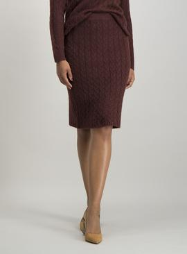 Burgundy Mini Cable Knit Pencil Skirt