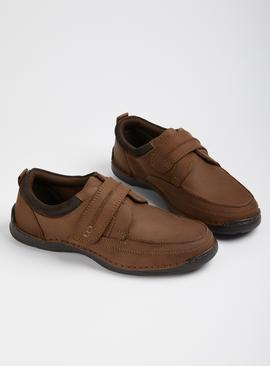 Sole Comfort Brown Leather Casual Strap Shoes