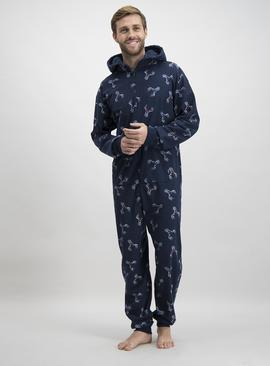 Christmas Navy Stag Print All In One
