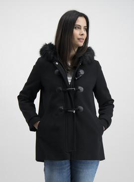 Black Hooded Traditional Duffle Coat