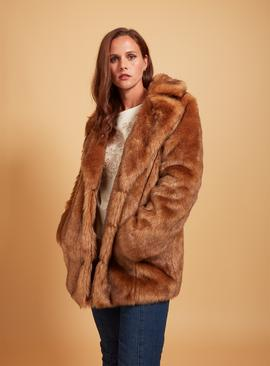 PREMIUM Brown Faux Fur Coat