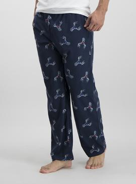 Christmas Navy Stag Print Fleece Pyjama Bottoms