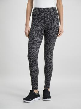 Online Exclusive Active Grey Leopard Print Running Leggings