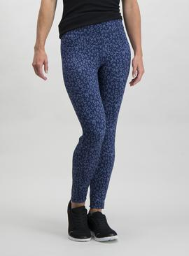 Online Exclusive Active Navy Leopard Print Running Leggings
