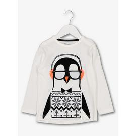 Christmas White Penguin Long Sleeve Top
