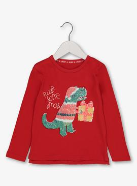 Christmas Red Sequin Dinosaur Top