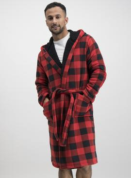 Christmas Red & Black Buffalo Check Dressing Gown