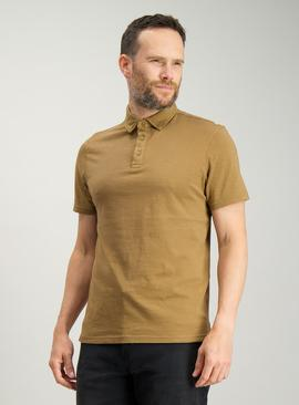 Light Brown Garment Dyed Polo Shirt