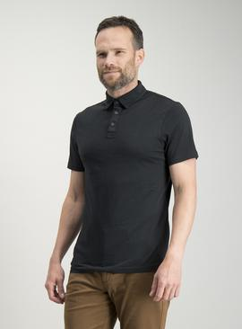 Black Garment Dyed Polo Shirt