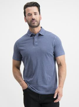 Blue Garment Dyed Polo Shirt
