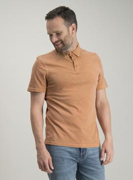 Orange Garment Dyed Polo Shirt