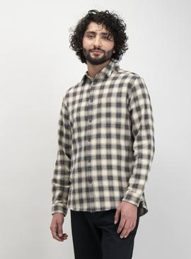 Cream & Black Check Regular Fit Shirt