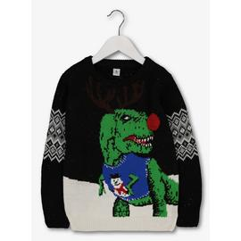 Christmas Black Dino Light & Sound Jumper