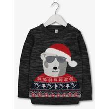 Christmas Charcoal Grey Polar Bear Jumper