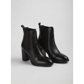 Sole Comfort Black Leather Cleated Heel Boots